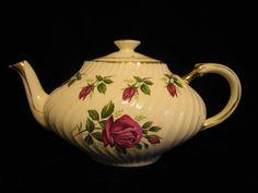 Arthur Wood vintage Georgian Teapot 1950s England by SharriesLOVECOMFORTS on Etsy Dark Red Roses, Vintage Crockery, Stoke On Trent, Earthenware, Summer Sale, Teapots, Georgian, Swirls, Tea Party