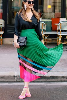 Milly Green Pleated Midi Skirt