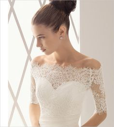 Simple fitted wedding dress. The lace is just off the shoulder - demure, yet alluring. <3