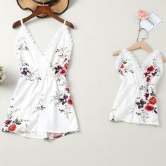 Mom Girl Floral Print Spaghetti Strap Matching Jumpsuit - URchild | Fashion Matching Outfits, Toddler, Kids Clothes Online Shopping | Urchild Mommy And Me Dresses, Mommy And Me Outfits, Girl Outfits, Summer Outfits, Mom Daughter Matching Outfits, Matching Family Outfits, Floral Jumpsuit, Floral Romper, Floral Lace