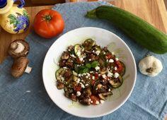 Zucchini, mushrooms, tomato salad