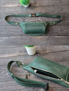 Main compartment with zip. Pocket for phone inside. Italian pull up leather with vintage effect. This belt bag for Women and Men will keep all your necessities in place. Leather Fanny Pack, Leather Belt Bag, Green Leather, Leather Handbags, Hip Bag, Small Backpack, Leather Accessories, Creations, Waxed Canvas