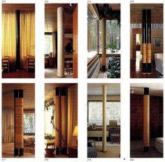 Column types in Alvar Aalto's Villa Mairea in Noormarkku 1939. 273: Single steel, painted black (living room). 274: Single cast concrete, ve...