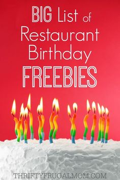Want to celebrate your birthday for free? This BIG list of restaurant birthday freebies are a fun, cheap way to enjoy and celebrate without spending a dime! Best Money Saving Tips, Ways To Save Money, Saving Money, Money Tips, Birthday Month, It's Your Birthday, Free Birthday, Birthday Wishes, Birthday Ideas