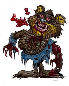 """'Can't get enough of my Zombie Cereal mascots! """"Oh it's Zombie Sugar Bear, and he's after my Human Crisp again! Creepy Disney, Disney Horror, Horror Art, Zombie Cartoon, Zombie Art, Childhood Characters, Sugar Bears, Twisted Disney, Kodak Moment"""