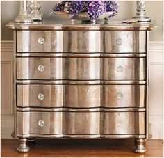 My new obsession-metallic paint on old wood furniture.