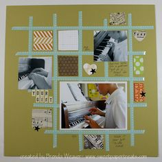grid design with small washi = perfect use for washi, paper scraps and multiple photos