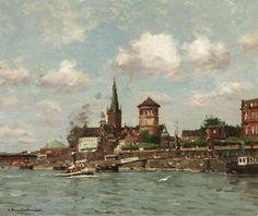 Georg Hambüchen: Düsseldorf. Blick über den Rhein auf die Rheinpromenade mit Schloßturm aus unserer Rubrik: Gemälde des 19. Jahrhunderts