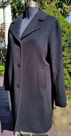 Women's LL Bean Bellandi ITALY 100% lambs wool insulated 3/4 car coat navy 16 L #LLBean #34CarCoat