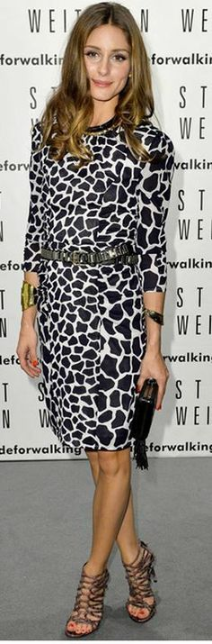 Who made Olivia Palermo's black and white giraffe print and cut out boots? Shoes – Stuart Weitzman  Dress – Whistles