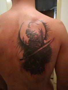 Samurai,moon,trees,bog tattoos