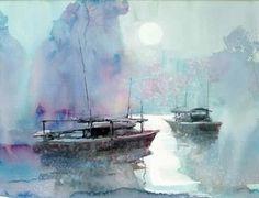 Z L Feng Painting Tutorial, Artist Painting, Modern Art, Watercolor Art, Types Of Art, Art, Watercolor Landscape, Seascape Paintings, Love Art