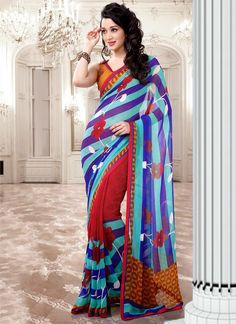 Charming blue #georgette #saree #floral #Printed