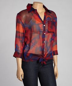 Another great find on #zulily! Red & Blue Tie-Front Button-Up Top - Plus #zulilyfinds