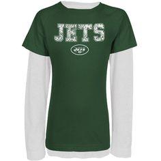 New York Jets Youth Girls Faux Layered Team Name Raglan Long Sleeve T-Shirt - Green/White
