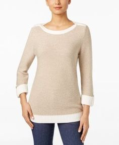 Karen Scott Metallic Threaded Sweater, Only at Macy's - White XXL