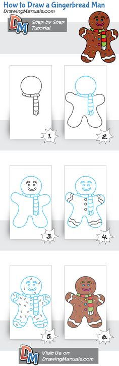 How to Draw a Gingerbread Man, Christmas Christmas Doodles, Christmas Drawing, Christmas Art, Doodle Drawings, Doodle Art, Easy Drawings, Drawing Lessons, Art Lessons, Drawing For Kids