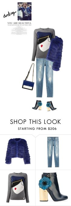 """""""Feeling Blue?"""" by stavrolga ❤ liked on Polyvore featuring Alice + Olivia, 7 For All Mankind, Love Moschino, Laurence Dacade, DKNY, distresseddenim, fauxfur and polyvoreeditorial"""