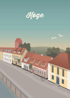 Køge fra Jeanet kristensen Vintage Travel Posters, Minimalist Design, Mansions, Country, House Styles, City, Inspiration, Copenhagen, Candle