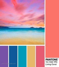 Bedroom Color Schemes, Colour Schemes, Color Trends, Color Combos, Color Patterns, Beautiful Color Combinations, Bedroom Colors, Coral Pantone, Paleta Pantone