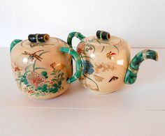 Edo Period Japanese Satsuma Creamer And Sugar Dragonflies, Chrysanthemums,Bamboo