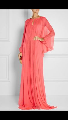 Coral silk-chiffon Concealed hook-fastening keyhole at front silk Dry clean Designer color: Geranium Abaya Fashion, Muslim Fashion, Modest Fashion, African Fashion Dresses, African Dress, Mode Abaya, Look Fashion, Fashion Design, Oriental Fashion