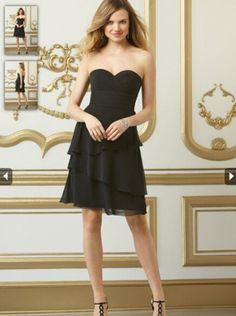 2015 A-line Black Chiffon Short Bridesmaid Dress WTOO 554