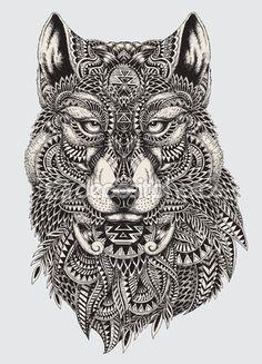 Ilustración altamente detallado Resumen lobo — Ilustración de stock #54860565
