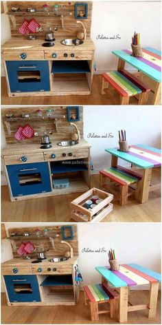 Let's become a carpenter for a while and craft this wood pallets mud kitchen and study furniture for your beloved kids. This is simple and easy to build wood pallets art, so anyone of you can craft these project to decorate their kid's room in a delightful manner.