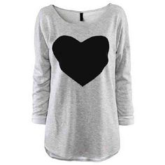Heart Print Long Sleeve Gray T-shirt (635 UYU) ❤ liked on Polyvore featuring tops, t-shirts, shirts, sweaters, long sleeves, grey, loose fit t shirts, boat neck t shirt, long-sleeve shirt and grey t shirt