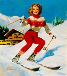 Items similar to Skier Pendant - NAPA Skier Pin up Art Pendant - Round - Vintage Gil Elvgren Illustration - Snow on Etsy Ski Vintage, Vintage Ski Posters, Vintage Art, Vintage Gifts, Pinup Art, Gil Elvgren, Ski Bunnies, Images Vintage, Ski Fashion