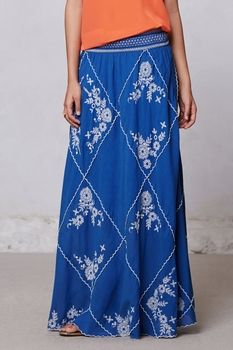 Ping Embroidered Maxi Skirt in March 2013 from Anthropologie on shop.CatalogSpree.com, my personal digital mall.