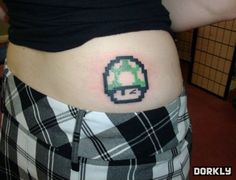 Gamer Tattoos | Gamer Girl 1-Up Tattoo - Dorkly Picture