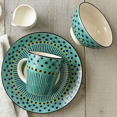 Dishes, Tableware & Dishware | west elm--Potter's Workshop--a collective of South African artist known for their signature bead-like patterns--designed these. They are produced in China. A global effort.