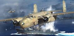 This is Maj. Raymond Wilkins' last mission over Simpson Harbor on Nov. 2, 1943. The painting itself (done by Jack Fellows) will be published in one of our books on the 3rd Bomb Group. If you want to know more about this raid or about how Wilkins received a posthumous Medal of Honor, we wrote a post about it on our blog: https://airwarworldwar2.wordpress.com/2014/10/31/bloody-tuesday/