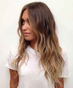 long layered brown and caramel balayage hair: