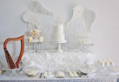 Angel Baby Shower Decorations | Angel Themed Baby Shower with Really Cute Ideas via Kara's Party ...