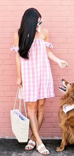 #summer #outfits Sundays With My BFF Anyone Else Feel Like Their Dogs Actually Understand What We Are Saying When We Talk To Them?! // Shop My Pink Gingham Dress (only $42) Along With Some Of My Other Current Gingham Favorites By Clicking The Link