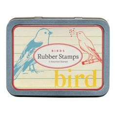 Cavallini Pocket Rubber Stamp Set - Birds
