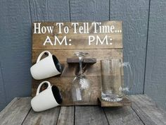 How to Tell Time... Coffee/Wine Cup Holder  -Ships in 3-5 days!!!  -18 in x 16.5 -This can accommodate Large and Small cups and glasses (large are pictured) -Rich Jacobean Stain With White Painted Lettering -Enamel Coat for protection -Heavy Duty D-Ring Hanging Hardware comes attached on back -Cups/Glasses not included  All questions welcomed!  Please check out my shop for other items you may like: https://www.etsy.com/shop/MemorEase?ref=hdr_shop_menu