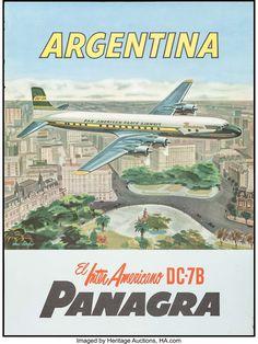 Vintage Advertisements, Vintage Ads, Vintage Airline, Uruguay Tourism, Airline Travel, Air Travel, Argentina Travel, South America Travel, A4 Poster