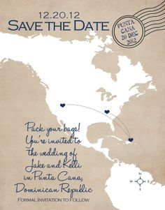 Destination Save the Date Card by mysweetiepie on Etsy, $1.65