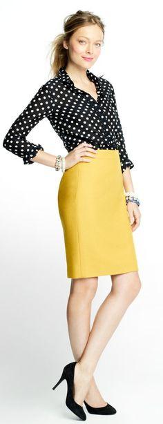 Yellow pencil skirt, black & white polka dot blouse - J Crew Factory Yellow Skirt Outfits, Pencil Skirt Outfits, Pencil Skirts, Yellow Pencil Skirt, Mellow Yellow, Mustard Yellow, Yellow Black, Work Attire, Work Fashion