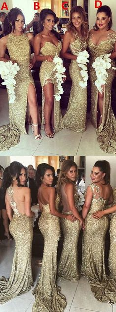 2018 Charming Sexy Unique Mismatched Gold Seuin Side Split Sparkly Women Long Wedding Party Dresses for Bridesmaids The long bridesmaid dresses are fully lined 4 bones in the bodice chest pad in the bust lace up back or zipper back are all availa Sparkly Bridesmaids, Mermaid Bridesmaid Dresses, Mismatched Bridesmaid Dresses, Mermaid Dresses, Wedding Bridesmaids, Bridemaid Dresses Long, Gold Sparkle Bridesmaid Dress, Bohemian Bridesmaid, Gold Sequin Dress
