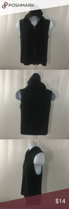 """Relativity Women's Sleeveless Zipup Hoodie Size L Excellent used condition, no noted flaws. Women's size large. Color dark gray. Full front zip. Sleeveless. Ribbed fabric. 100% cotton. Machine wash. Approx. laying flat measurements: armpit to armpit 19"""", length 22"""". Relativity Tops Sweatshirts & Hoodies"""