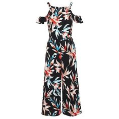 F&F Tropical Leaf Print Cold Shoulder Culotte Jumpsuit ❤ liked on Polyvore featuring jumpsuits, cold shoulder jumpsuit, jump suit and summer jumpsuits