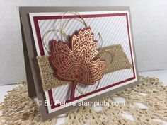Stampin' Up!'s Lighthearted Leaves embossed beauty. http://www.stampinbj.com/2015/10/lighthearted-leaves-made-simple.html