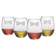 Bowtie Stemless Wine Glass (Set of 4)