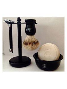 Shaving Gift Set with Merkur Safety Razor, Bowl, GBS Shaving Soap,badger Brush, Stand Brush and Razor Shaving Gift Set, Shaving Soap, Shaving Kits, Tech Gadgets, Cool Gadgets, Merkur Safety Razor, Shaving Supplies, Just For Men