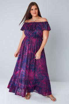 Purple & Pink Palm Print Frill Maxi Dress - Plus Size Maxi Dresses - Ideas of Plus Size Maxi Dresses - Purple & Pink Palm Print Frill Maxi Dress Plus Size Long Dresses, Plus Size Party Dresses, Long Summer Dresses, Plus Size Outfits, Summer Maxi, Fall Dresses, Formal Dresses, Plus Zise, Elegant Ball Gowns